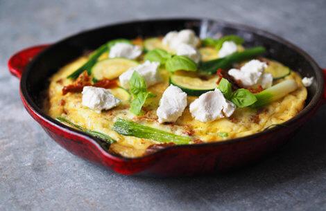 Æggekage med grønt & gedeost