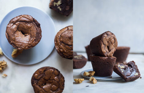 Double chocolate brownie muffins