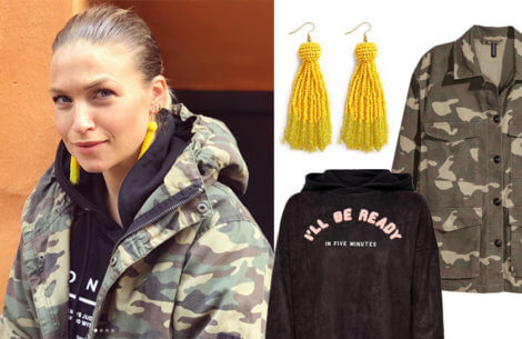 Shop Christianes look: Yellow lightning & camouflage