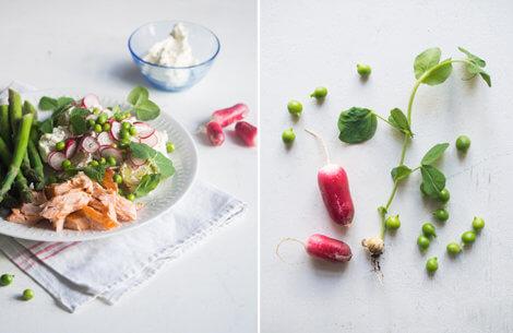 Kartoffelsalat med asparges & varmrøgetlaks
