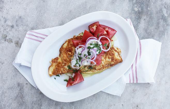Omelet med yoghurt - persillecreme