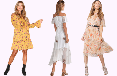 Blomstrede kjoler til under 1000 kr.