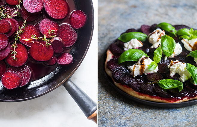 Rødbede tarte tatin med frisk gedeost & basilikum