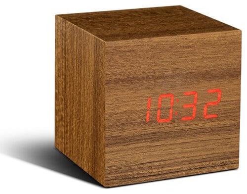 Gingko - Click Clock - Cube - Teak